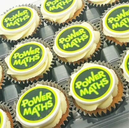 Logo Branded Cupcakes with a power maths logo