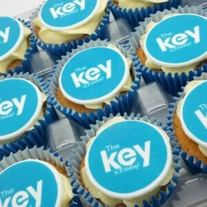 Logo Branded Cupcakes with a blue logo