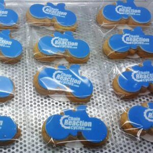 Bike Shaped Logo Biscuits
