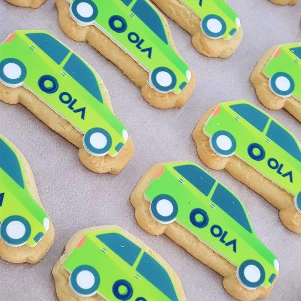 Car Shaped Logo Biscuit