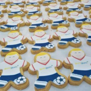 Footballer Shaped Logo Biscuit