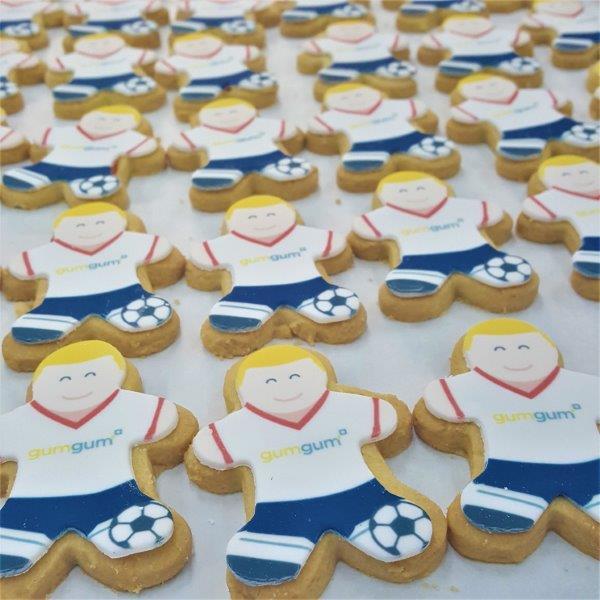 Footballer Shaped Logo Biscuit
