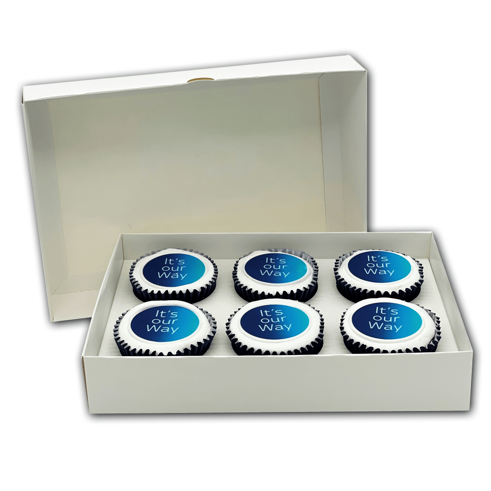 Wrapped cupcakes with a printed logo disc