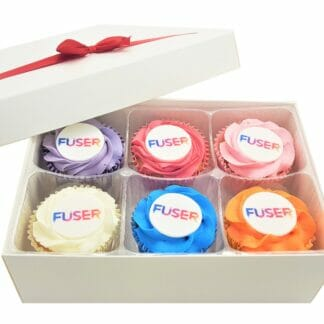 Multi-coloured Frosted Cupcakes Gift Box with a red ribbon