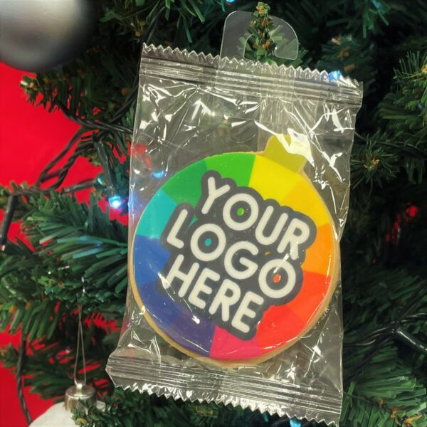 Branded Christmas Bauble Biscuit hanging on a tree