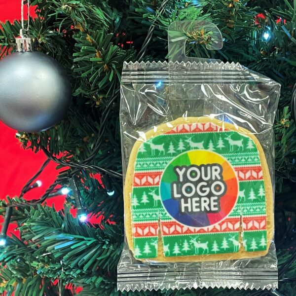 Branded Christmas Jumper Biscuit hanging on a tree