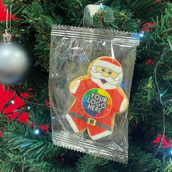 Branded Santa Biscuit hanging on a tree