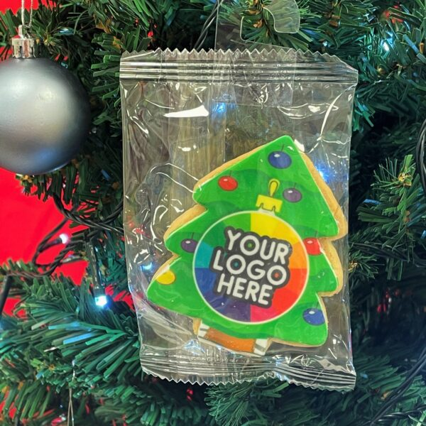 Branded Christmas Biscuit hanging on a treea