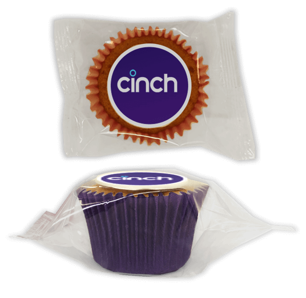 Wrapped corporate logo cupcakes