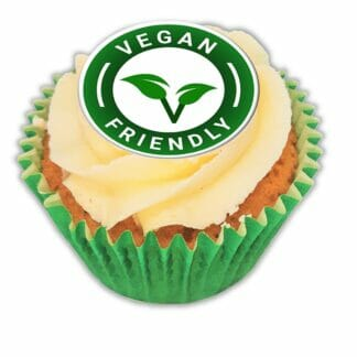 vegan friendly cupcake with a green case