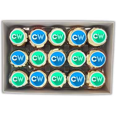 Filled branded cupcakes gift box