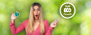 Woman pointing at a eco promise logo