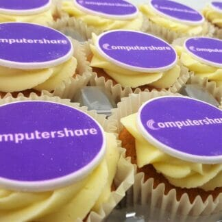 logo branded cupcakes with vanilla frosting