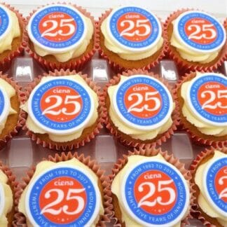 Logo Branded Cupcakes with 25 year logo
