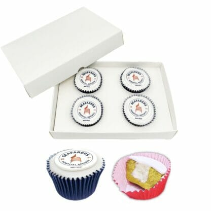 4 Postal filled cupcakes with a printed logo disc in a box