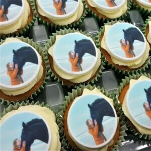 printed photo cupcakes with vanilla frosting
