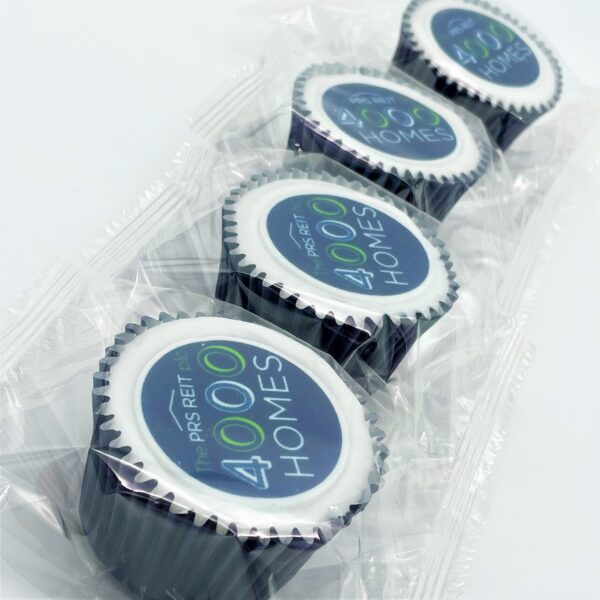 4 Wrapped Iced Filled Branded Cupcake